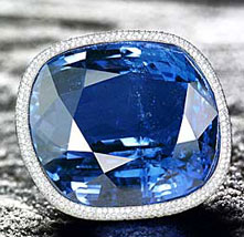 The Blue Giant of the Orient, a cushion-shaped Ceylon sapphire of 486.52 carats, the largest faceted blue sapphire ever offered at auction.