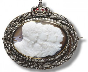 Cameo - the four Georges set in diamonds, surmonted by a diamond-set crown, 1820 - from Earl and Countess Cadogan