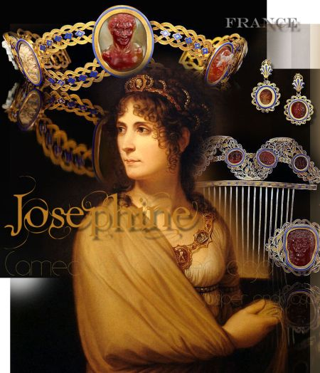 Josephine-empress-cameo-parure-french-bonaparte-tiara-diadem Gold with enamel, with cameos of layered agate, jasper and jasper agate. Red leather case of tongue shape, curving at the front. Fitted for diadem, belt clasp and slide (and further items no longer in parure.