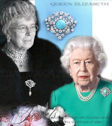 Turquoise and diamond ornament brooch| Royal Wedding gift from the Prince and Princess of Wales to Princess Mary of Teck