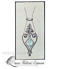 Faberge Large Aquamarine lozenge pendant | Royal Wedding gifts and present | Victoria Eugenie of Spain