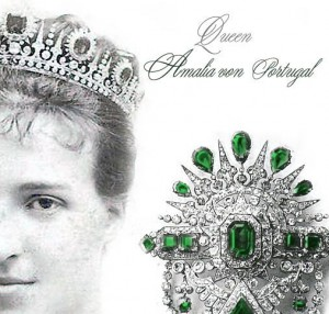 Queen Amalie of Portugal | Royal Emerald Necklace Tiara Jewels | Emerald Diadem Collier Queen Amalie of Portugal Wedding Jewellery and bijouterie | Emerald Diadem Collier