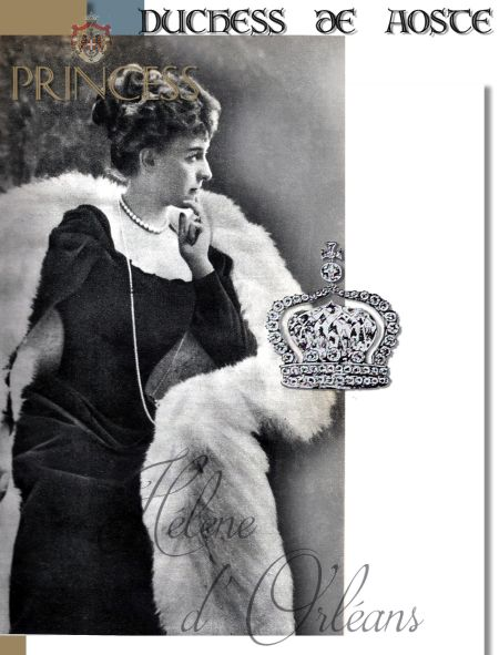 Brooch Crown of a large single diamond in the center and diamond setting|Royal Imperial head Ornament from the Duc d'Orléans|Hélène of Orléans Duchess of Aosta |Princess of Orleans France Jewelry Presents|Royal Marriage Gift