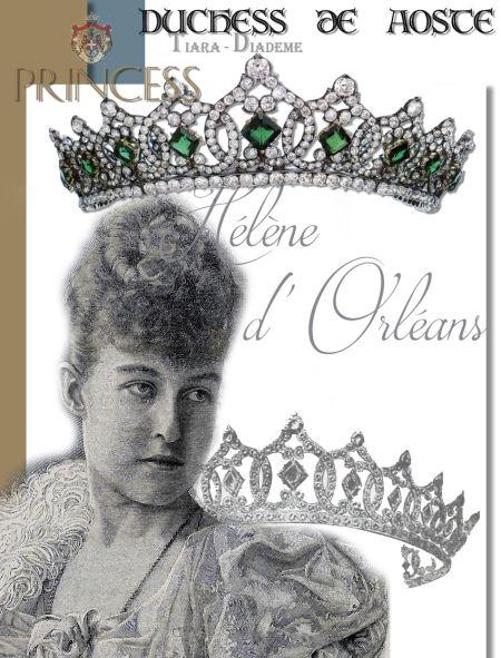 HÉLÈNE  D'ORLÉANS| DUCHESSE D'AOSTA| Royal  Imperial Jewels History Emerald tiara Duc de Aumale Corbeille de Marriage Trousseau royal jewels royaltiara