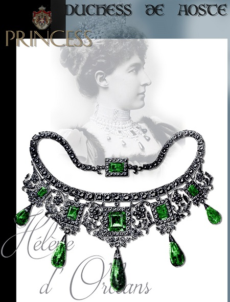 Duchess Helene of Aoste Emerald and Diamond Necklace - from the Duc of Aosta| France Imperial Jewels |Princess of Orleans Presents Wedding |Royal Marriage Gift     The marriage of Princess Helene of Orleans, daughter of the late Comte de Paris, heir to the throne of Louis Philippe, King of the French, to the Duc d'Aosta, nephew to King Humbert of Italy, took place on Tuesday, June 25,1895 in the small Roman Catholic church of St. Baphael, at Kingston-on-Thames.    THE PRESENTS of the House of ORLEANS HOUSE given to Princess Helene  the imperial emeralds the Duc d'Aoste have chosen for the Royal bride.  The necklace given the former consists of five square shaped diamonds and the same number of pear-shaped emeralds with an emerald clasp>>.