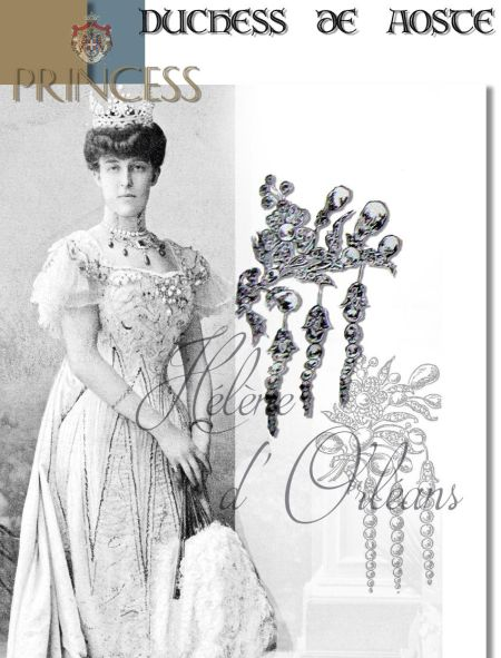Pearl and Diamond Ornament Brooch Devante de Corsage|Royal Imperial Jewel from the Duchess of Montpensier|Hélène of Orléans Duchess of Aosta |Princess of Orleans France Jewelry Presents|Royal Marriage Gift