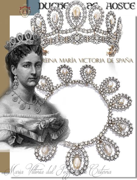 Diamond Pearl Tiara Necklace Duchess d'Aosta Maria Vittoria dal Pozza della Cisterna| Queen of Spain |Savoy Jewels Italy|Royal Wedding Present