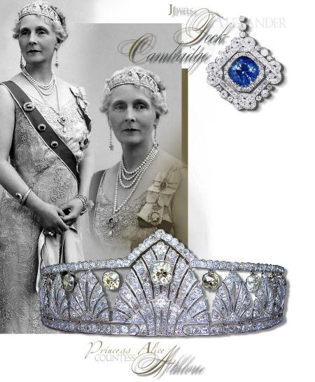 Diamond Palmette Tiara |England Royals | Countess Athlone Royal Jewels  The palmette diamond tiara consists of thirteen graduated palm fronds