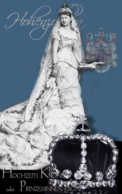 The late Queen of Prussia and German Empress: Auguste Victoria zu Schleswig-Holstein-Sonderburg-Augustenburg as Royal Bride wearing on of the royal bridal-coronet Brautkrone der Preussen  Prinzessinnen des Kaiserhaus   Königin Kaiserin  Hohenzollern-Preussen Kronjuwelen