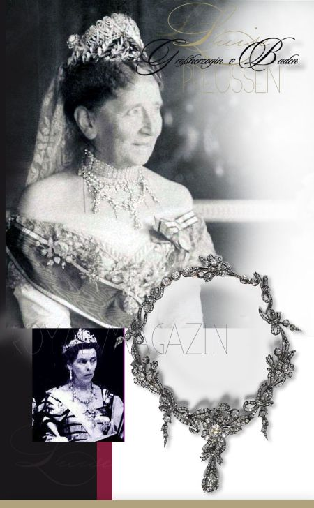 Variable Necklace of bows and ribbons- Diamond Collier, Princess Louise of Prussia|Grand Duchess of Baden |Wedding Present of Empress Augusta and Emperor Wilhelm I of Prussia|Hohenzollern|German Monarchy Historie    Diamant Halsband Collier, Prinzessin Louise von Preußen|Großherzogin von Baden | Kaiserin Augusta und Kaiser Wilhelm I |Deutschland Hohenzollern