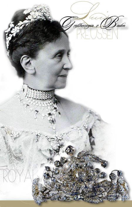 Tiara Diadem aus den preussischen Diamanten | Royalty Baden Germany |Royal Jewel History Garland Diamant Diadem der Großherzogin Marie Luise von Baden | Royal Jewel History Juwelen der Grossherzogin von Baden| Historie| Königliche Juwelen Großherzogin Hilda von Baden Diamant Schmuck| Devante de Corsage, Brosche |Diamant Stomacher Imperial Diadem der Grossherzogin von Baden, Stephanie de Beauharnais| Royal Imperial Jewel History Palmetten Diamant Tiara der Großherzogin Luise von Baden| Palmette Diadem Gift of the Grand Duchess Maria Pavlovna Sachsen-Weimar Russian Jewel History Natural Diamond Rose Brooch of Princess Louise of Prussia | Grand Duchess of Baden | Wedding Present of her grandmother Grand Duchess of Sachsen-Weimar, Grand Duchess of Russia| Now in the possession of the Queen of Sweden Diamond Tiara of Camellias bouquets - Wedding Gift of the King of Prussia |Kamelien bouquets |Camelienbouquets in Diamanten Königliches Hochzeitsgeschenk Wedding Gift of the King of Prussia | Silver Toilette |Royal History| Princess Louise of Prussia Grand Duchess of Baden Variable Necklace of bows and ribbons- Diamond Collier, Princess Louise of Prussia|Grand Duchess of Baden |Wedding Present of Empress Augusta and Emperor Wilhelm I of Prussia|Hohenzollern|German Monarchy Historie