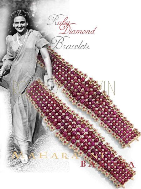 Unique Baroda Rubies and DiamondS | A Pair of Bracelets| Mugal |Royal India Jewel History| Maharani Sita Devi of Baroda Indian splendour royals royalty königlicher Schmuck und Juwelen history