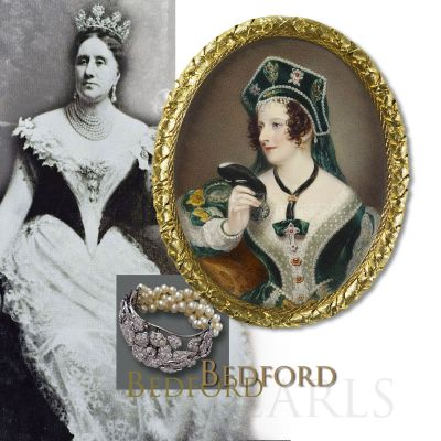 Duchess of Bedford | Famous Bedford Pearls, eight-row Pearl Necklace, Pear Pearls Earrings and Perl Stomacher| Important Jewels Nobel History