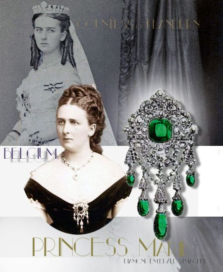 Princess Marie of Hohenzollern| Countess of Flanders Famous Emerald Stomacher Brooch |Reine de Belgique Queen Belgium Royal JEWELS Belgische-koningshuis
