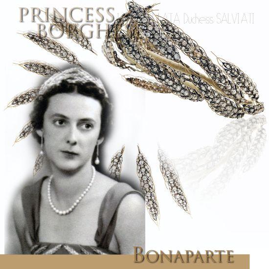 Diamond Ears of Wheat Diadem - Princess Paolina Borghese | Paolina Bonaparte|Duce Salviati |Imperial Tiara Jewellery France Empire  EARS OF WHEAT TIARA