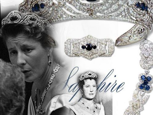 Sapphire Diamond Parure Tiara Necklace Brooch Bracelet Earrings made by Chaumet for Princess Alicia Bourbon Parma Duchess of Calabria in Art deco Style
