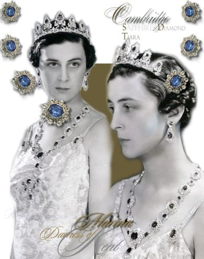 Marina Duchess of Kent | Historische Cambridge Saphir Parure