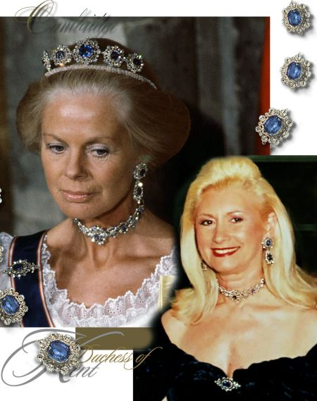 Duchess of Cambridge famous historic sapphire and diamond parure, later owned by Katherine Duchess of Kent, #royal #royalty #royalfamily #royaljewels #jewelry #diamond #sapphire #necklace #earrings #brooch #duchessofcambridge #queenmary #princessmarina #duchessofkent #history #fashion #england #uk #britain #monarchy #britishmonarchy #britishroyals #britishroyalfamily #britishroyaljewels