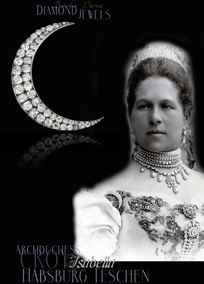 Diamond Crescent Moon Brooch | Archduchess Isabella of Habsburg Teschen Croy Royal Jewels