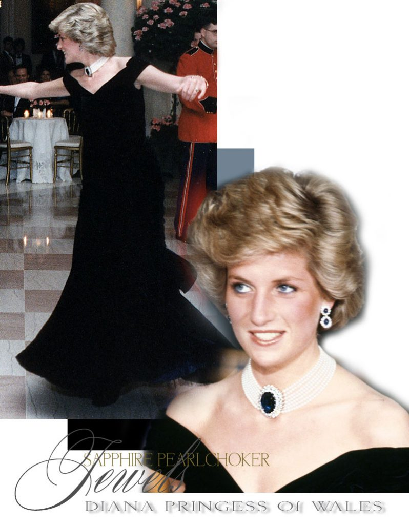 Diana Princess of Wales| Sapphire Brooch Necklace Pearl Choker Collier