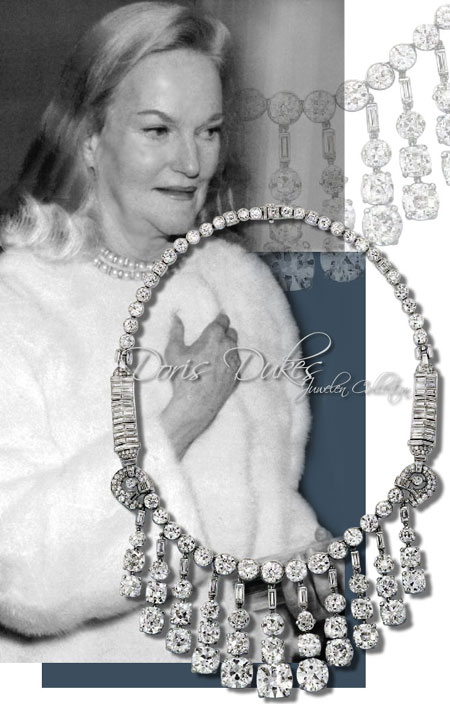 Doris Duke diamond fringe necklace cartier jewels| Important nobel and Royal jewel History