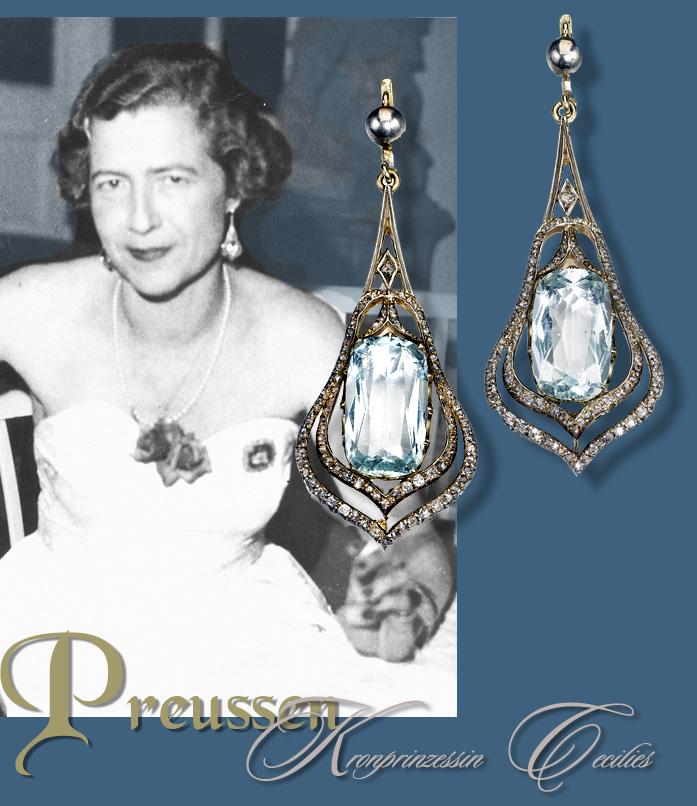 aquamarin diamant ohrringe kronprinzessin cecilie von. Black Bedroom Furniture Sets. Home Design Ideas