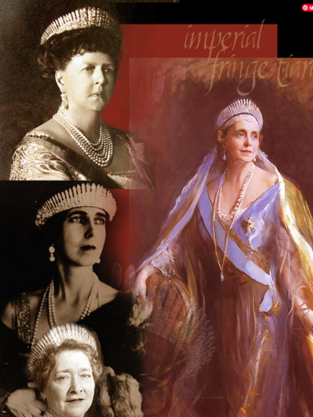 Maria Alexandrovna's Fringe Tiara Fringe Diadem Imperial Fringe Tiara of Marie Grand Duchess of Russia, Princess of Great Britain and Ireland, Duchess of Edinburgh Fringe Diadem Imperial Fringe Tiara of Marie Grand Duchess of Russia, Princess of Great Britain and Ireland, Duchess of Edinburgh and Duchess of Saxe-Coburg-Gotha   Queen of Romania, Eulalia  Baby Bee - Beatrice Infanta of Spain, Marie Queen of Yugoslaviaand Duchess of Saxe-Coburg-Gotha  worn from: Queen of Romania, Princess Baby Bee, duchess of Galeria,