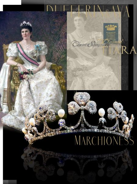 Clover Coronet, Clover Tiara, Clover  Diamond Tiara, Clover jewelry, shamrock tiara, royal tiara,shamrock coronet, shamrock diamond coronet, heirlooms,  Marchioness of Dufferin and Ava Clover Leaf Tiara | Diamond Shamrock Diadem |Noble Jewelry Royal Wedding Gifts Marriage Presents - Presents to the Vicereine of India  Hariot Hamilton-Temple-Blackwood, Marchioness of Dufferin and Ava