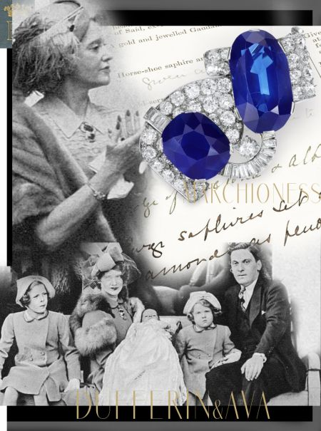 Famous Sapphires Present to Maureen Guinness| From The Vicereine of India| Marchioness of Dufferin and Ava   ribbon, set with an oval and a cushion-shaped sapphire weighing 55.19 carats and 25.97 carats
