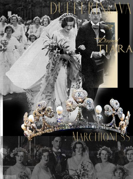 Marchioness of Dufferin and Ava Clover Leaf Tiara |Maureen Guinness Diamond Shamrock Diadem |Noble Jewelry Royal Wedding Gifts