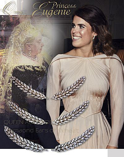 Diamond Ears of Wheat Brooches Hair Ornaments... Princess Eugenie also wore a hair slide belonging to Her Majesty The Queen, the Wheat-Ear Brooches.