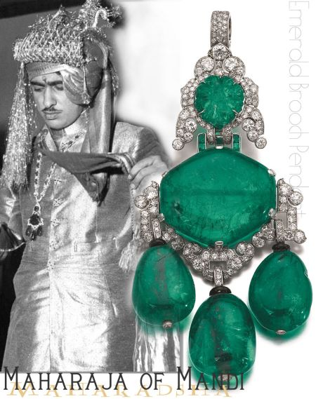 Emerald Diamond Pendant Brooch Cartier| Maharaja of Mandi Royal India Ruler