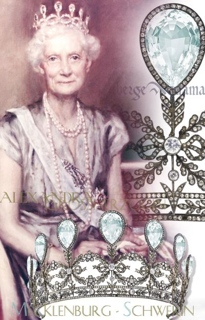 Faberge Aquamarine Diamond Tiara wedding gift marriage present of the Grand Duke of Mecklenburg-Schwerin, to his bride Princess Alexandra of Cumberland-Hanover