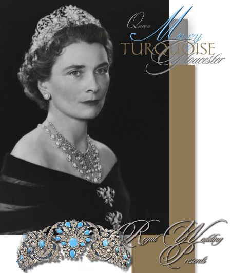 Teck Turquoise Parure Resille Diamond Fringe Necklace with Turquoises| Duchess of Gloucester Queen Mary Royal Wedding Gift