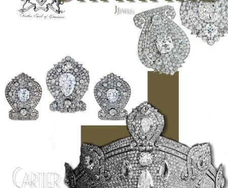 Art deco Diamond Brooches from the large Kokoshnik |Cartier Diamond Tiara | Granard Jewels | Forbes Family Jewel History |Countess of Granard