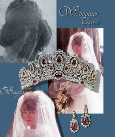 Bridal Jewels - Grosvenor Westminster Wedding | Spinel and Diamond Tiara and Spinel and Diamond Earrings | Royal Jewel History