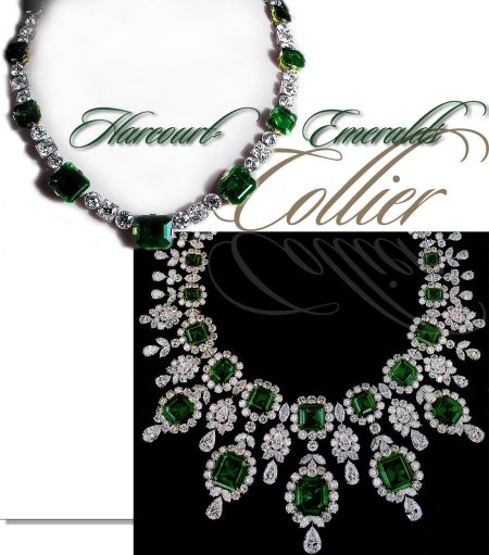 Harcourt Smaragd Diamant Colliers Halsband  The Harcourt - Emerald Necklace with Diamonds  This wonderful necklace, with its fascinating provenance of over a hundred years of aristocratic and royal associations seen above, was sold at auction to the jeweller Graff.  The famous diamond collector and jeweller Graff made a new collier with the Harcourt emeralds. The new collier, seen on the right side, is in the the style of Harry Winston, with large gems in clusters; here emeralds at the centre of the cluster and numerous pear-shaped diamonds and round diamonds as the setting.
