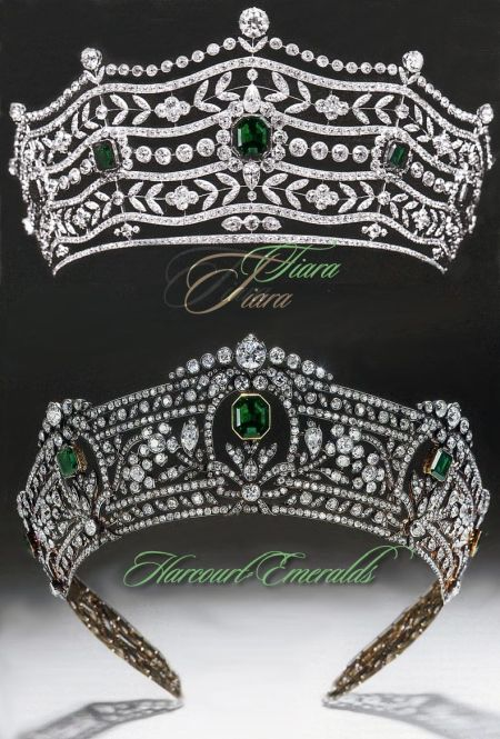 Harcourt Smaragd Diamant Diadem  The Harcourt - Emerald Tiara Boucheron Version in 1904| Important Diadem  Mrs Hayes Burns emerald diamond tiara created by Boucheron in 1904, seen on top in his first version of that jewel. Mrs Hayes Burns was the sister of the banker J. Pierpont Morgan.  Later it was rebuild with the emeralds and diamonds from Boucheron in the 1920, for her daughter Mary, who married Lewis, first Viscount Harcourt.   In 1920 Boucheron get also the order to create an bandeau & choker, matching the tiara and the other Harcourt jewels.