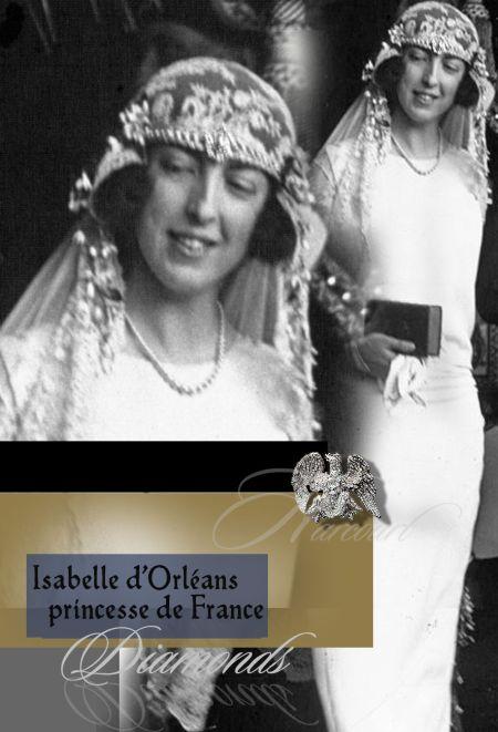Isabelle of Orléans Princess of France Isabelle of Orléans Princess of France| Countess Bruno d'Harcourt| Royal Wedding Jewels History | Mariage Princier cadeau LE MARIAGE DE LA PRINCESSE ISABELLE D'ORLEANS AVEC LE COMTE BRUNO D'HARCOURT trousseau imperial marriage hochzeit  Countess Harcourt French royals