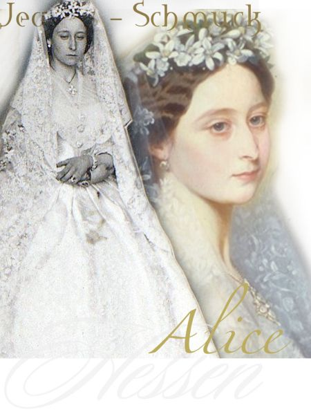 Royal Wedding Bride with her jewels, Pearl Brooch ,bracelets, opal cross from father,  Princess Alice of the United Kingdom  1843-1878  and Prince Louis of Hesse, later  Louis IV, Grand Duke of Hesse 1837-1892