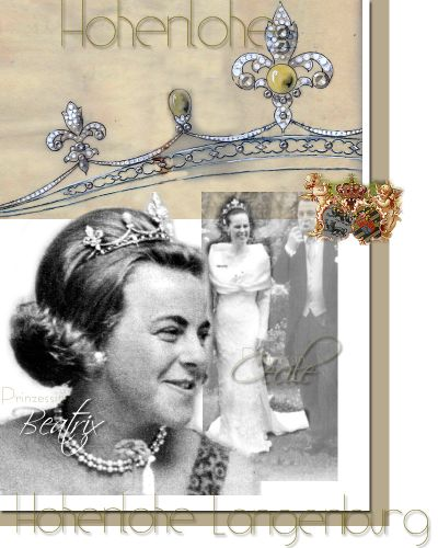 Diadem mit Diamanten Bourbonen-Lilie ehemald Brosche der Fürstin Alexandra| Prinzessin Beatrix, Prinzessin Cecile und Fürstin Saskia von Hohenlohe Langenburg | Königlicher Schmuck Geschichte der Juwelen