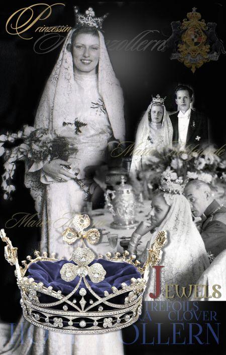Clover Diamant Diadem|Clover Diamant Tiara|Clover Diamant Coronet |Kleeblatt Krone Hochzeit Prinzessin von Hohenzollern-Sigmaringen|Royal Wedding  Princess Marie-Adelgunde  princess Marie Antonia prinzessin