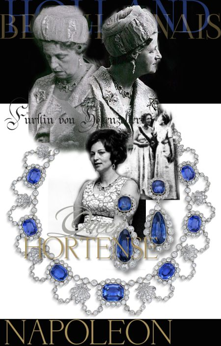 Fürstin Margarethe of Hohenzollern-Sigmaringen | Sapphire and Diamond Necklace Collier Hortense Queen of Holland |History |German Royal Jewelry Königin von Holland Beauharnais jewelhistory Napoleonic jewels hohenzollern schmuck napoleon jewelry princess of hohenzollern-sigmaringen