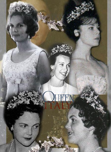 Princess Maria Gabriella of Italy of Savoy Diamond Bandeau Ive leaf Tira Diadem Princess Maria Pia of Yugoslavia