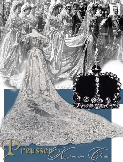 Kronprinzessin Cecilie von Preussen Hohenzollern, Crownprincess Cecilie of Prussia Royal Imperial Wedding presents Wedding gown Princess Nuptial Crown