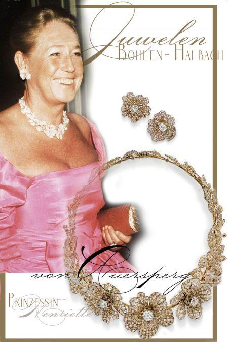 Princess Henriette von Auersperg | Bohlen und Halbach Diamond Roses Necklace Collier Princess Henriette Auersperg Bohlen und Halbach Krupp |Diamonds Royal Jewel History Germany