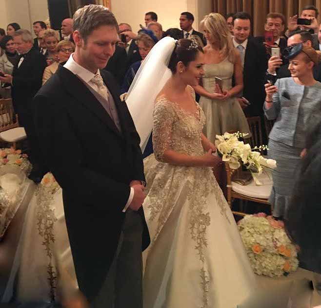 Princess Elia and Leka II of Albania royal wedding | wearing the sapphires tiara