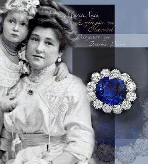Sapphire Diamond Cluster Brooch | Royal Imperial Jewelry| Wedding Present |Archduchess Maria Anna Princess of Bourbon-Parma Saphir Diamant - Cluster Brosche | Königlich Kaiserliche Juwelen | Schmuck Erzherzogin Maria Anna von Österreich