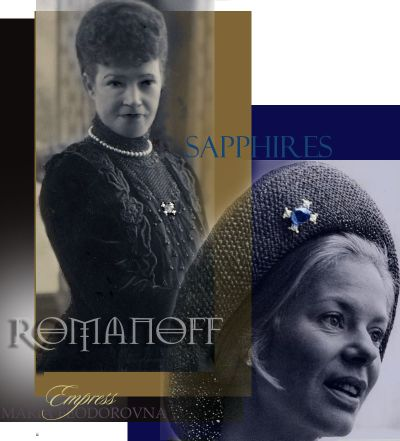 Dowager Empress Maria Feodorovna | Romanov Sapphire Cabochon Brooch with four Diamonds