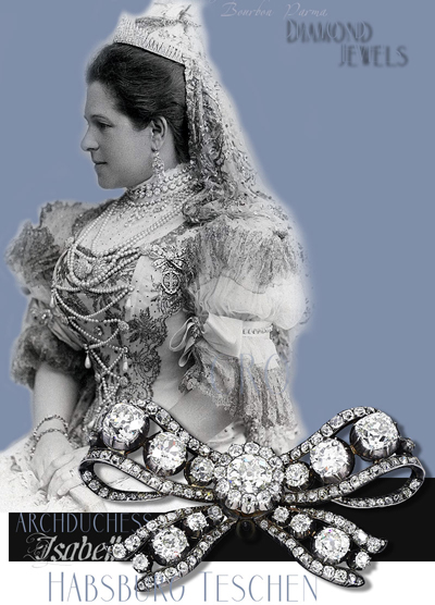 Empress Maria Theresia Bow Brooch |Royal Diamond Brooch |Archduchess Isabella of Habsburg Teschen Croy Royal Jewels from the Bourbon Parma Family| Bow Brooch Ribbon| Jewelery Archduchess Maria Anna of Austria